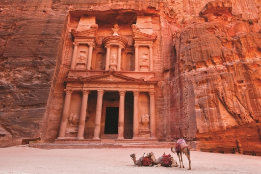 Camels in front of theTreasury, Petra. Credit Jordan Tourist Board